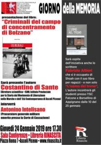 Criminali del campo di concentramento di Bolzano di Costantino Di Sante alla Libreria Rinascita di Ascoli Piceno