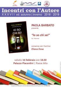 San Benedetto, Io so chi sei di Paola Barbato a Palazzo Piacentini