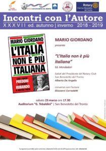 Mario Giordano con il suo L' Italia non è più italiana all' Auditorium Tebaldini di San Benedetto