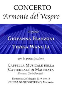 Macerata, concerto Armonie del Vespro per organo a quattro mani e coro