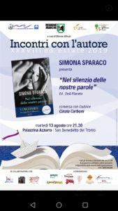 Nel silenzio delle nostre parole di Simona Sparaco alla Palazzina Azzurra