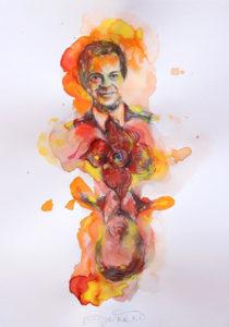 L'editore e collezionista Franco Maria Ricci ritratto dall'artista Mario Vespasiani